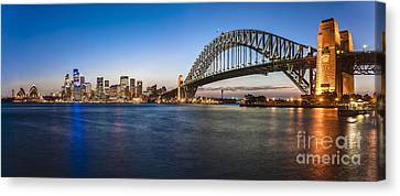 Sydney Harbour Evening Panorama Canvas Print by Colin and Linda McKie