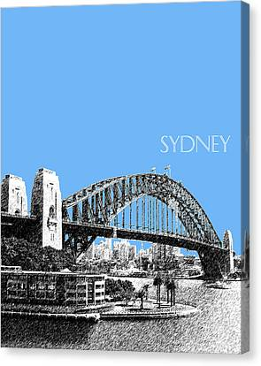 Sydney Skyline 2 Harbor Bridge - Light Blue Canvas Print by DB Artist