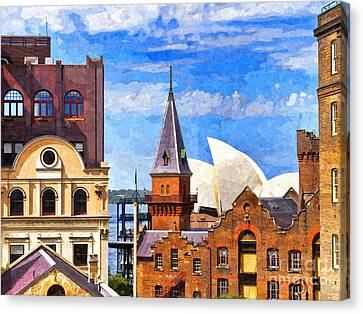 Sydney The Rocks And Opera House Canvas Print by Colin and Linda McKie