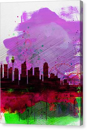 Sydney Watercolor Skyline 2 Canvas Print by Naxart Studio