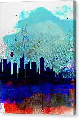 Sydney Watercolor Skyline Canvas Print by Naxart Studio