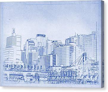 Sydney's Cockle Bay Blueprint Canvas Print by Kaleidoscopik Photography