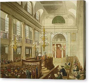 Synagogue At Dukes Place In Houndsditch Canvas Print by Pugin And Rowlandson