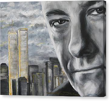 T And The Wtc Canvas Print by Eric Dee