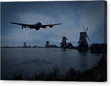 Dambusters Lancaster T For Tommy En Route To The Sorpe Canvas Print by Gary Eason