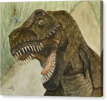 T-rex..... Run Canvas Print by Kelly Mills