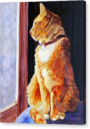 Tabby's Favorite Seat Canvas Print by Jenny Armitage