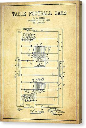 Table Football Game Patent From 1933 - Vintage Canvas Print by Aged Pixel