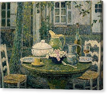 Table Laden For Spring Canvas Print by Henry Eugene Le Sidaner