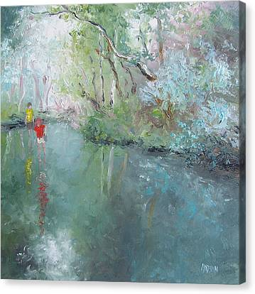 Tad Poling At The Creek Canvas Print by Jan Matson