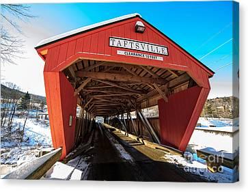 Taftsville Covered Bridge In Vermont In Winter Canvas Print by Edward Fielding