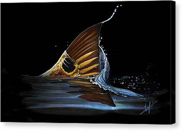 Tailing Redfish Canvas Print by Nick Laferriere