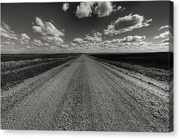 Take A Back Road Bnw Version Canvas Print by Aaron J Groen