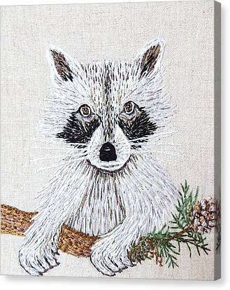 Take Me Home Raccoon Embroidery Illustration Canvas Print by Stephanie Callsen