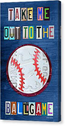 Take Me Out To The Ballgame License Plate Art Lettering Vintage Recycled Sign Canvas Print by Design Turnpike