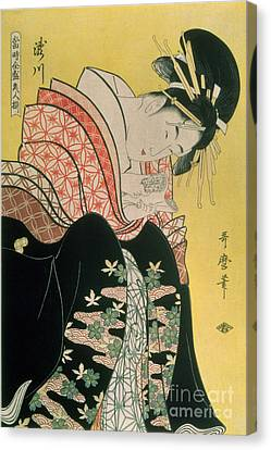 Takigawa From The Tea House Ogi Canvas Print by Kitagawa Otamaro