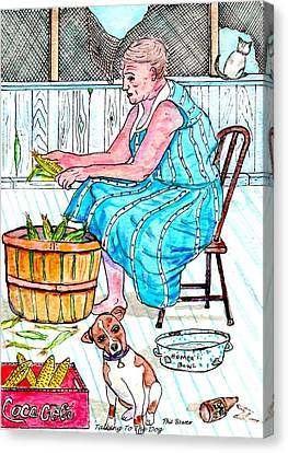 Talking To The Dog - Sitting On The Front Porch Canvas Print by Philip Bracco