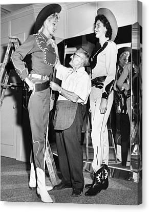 Tall Cowgirls Get Fitted Canvas Print by Underwood Archives
