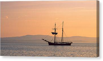 Tall Ship In The Baie De Douarnenez Canvas Print by Panoramic Images