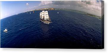 Tall Ship In The Sea, Puerto Rico Canvas Print by Panoramic Images