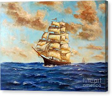 Tall Ship On The South Sea Canvas Print by Lee Piper