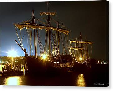 Tall Ships Canvas Print by Debra Forand