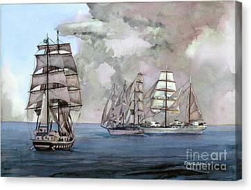 Tall Ships Off Newport Canvas Print by Steve Hamlin