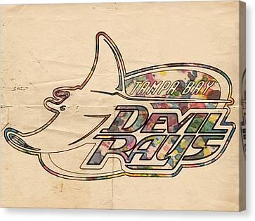 Tampa Bay Rays Vintage Logo Canvas Print by Florian Rodarte