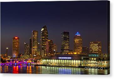 Tampa Lights At Dusk Canvas Print by Marvin Spates
