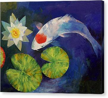 Tancho Koi And Water Lily Canvas Print by Michael Creese
