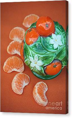 Tangerine Slices And Ceramics Canvas Print by Luv Photography