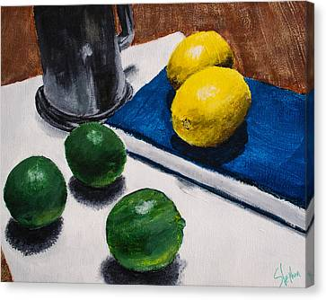 Tankard And Citrus 8x10 Canvas Print by Stephen Nantz