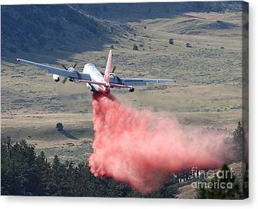 Canvas Print featuring the photograph Tanker 45 Dropping On Whoopup Fire by Bill Gabbert