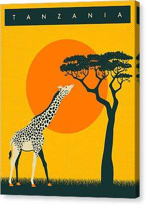 Tanzania Travel Poster Canvas Print by Jazzberry Blue