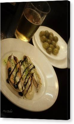 Tapas In Seville Canvas Print by Mary Machare