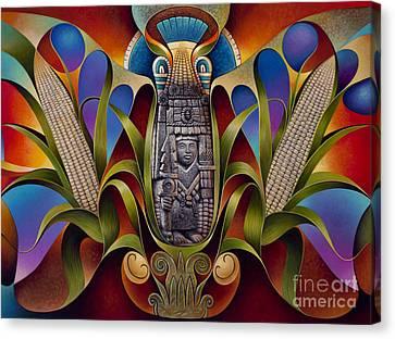 Tapestry Of Gods - Chicomecoatl Canvas Print by Ricardo Chavez-Mendez