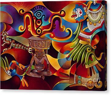 Tapestry Of Gods - Huehueteotl Canvas Print by Ricardo Chavez-Mendez