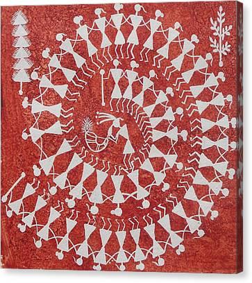 Tarpa Dance Original Warli Painting- Indian Tribal Art Canvas Print by Aboli Salunkhe