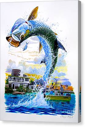 Tarpon Leap Canvas Print by Carey Chen