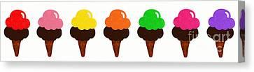 Taste The Ice Cream Rainbow Canvas Print by Andee Design