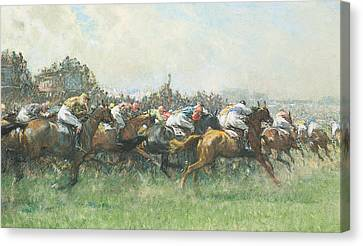 Tattenham Corner The Epsom Derby Canvas Print by Gilbert Holiday