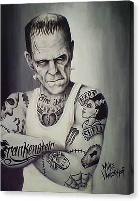 Tattooed Frankenstein By Mike Vanderhoof Canvas Print by Mike Vanderhoof
