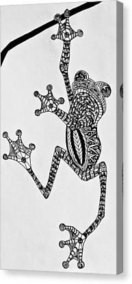 Tattooed Tree Frog - Zentangle Canvas Print by Jani Freimann