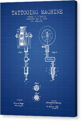 Tattooing Machine Patent From 1891 - Blueprint Canvas Print by Aged Pixel