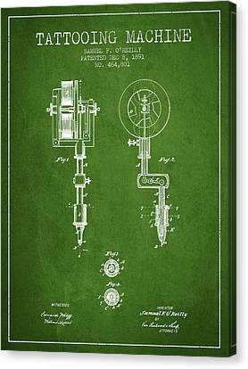 Tattooing Machine Patent From 1891 - Green Canvas Print by Aged Pixel