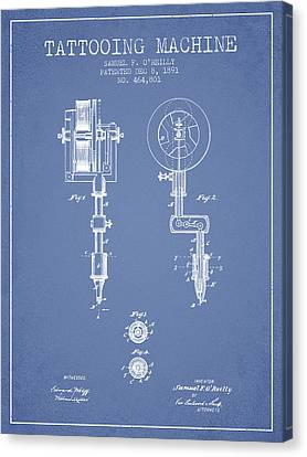 Tattooing Machine Patent From 1891 - Light Blue Canvas Print by Aged Pixel