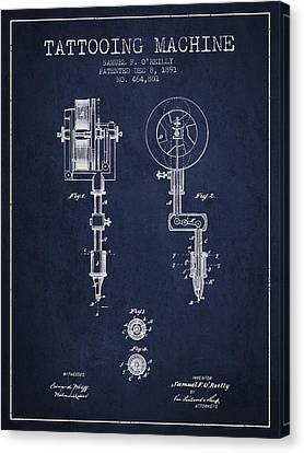 Tattooing Machine Patent From 1891 - Navy Blue Canvas Print by Aged Pixel