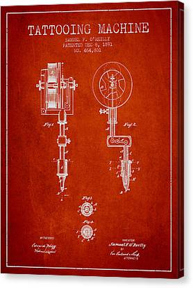 Tattooing Machine Patent From 1891 - Red Canvas Print by Aged Pixel