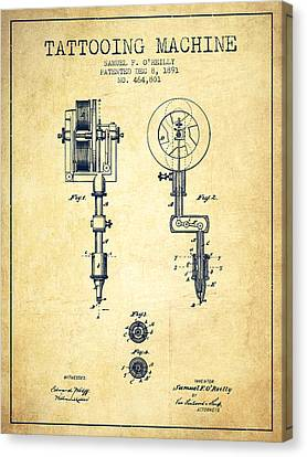 Tattooing Machine Patent From 1891 - Vintage Canvas Print by Aged Pixel