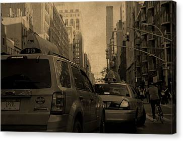 Taxi Traffic Jam In New York City Canvas Print by Dan Sproul